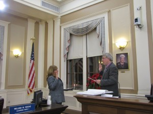 aving submitted her resignation as Ward 1 School Committee Member and been unanimously elected by the Board of Alderman to finish the unexpired term of Ward 1 Alderman William Roche, Maureen Bastardi, takes the oath of office administered by City Clerk John Long.
