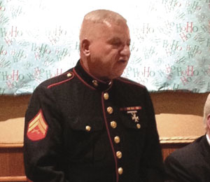 United States Marine Corporal Vin Dolan addresses the crowd at the Kiwanis Annual Tri-Club Meeting.
