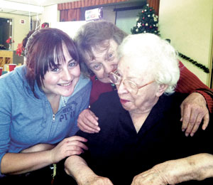 "105-year-old Anne Glennon (right) says she owes her longevity to ""clean living."""