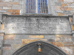 The title is inscribed on the Chapel-Street side of the entrance to the Methodist Church on College Avenue.