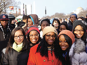 SHS Chorus members on the National Mall during the Presidential Inauguration. ~Photo by Darius Green