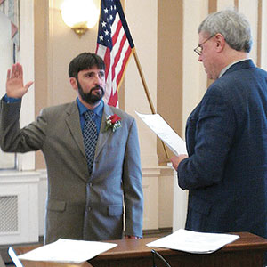 Steven Roix was sworn in Tuesday as the new School Committee member representing Ward 1. ~ Photo by Alderman Maureen Cuff-Bastardi