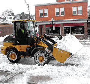 City workers and independent contractors worked around the clock over the weekend clearing streets in Somerville. ~Photo by Bobbie Toner