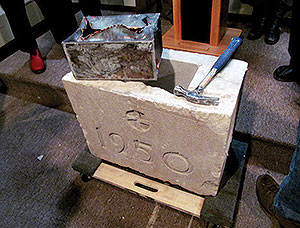 This metal box was inserted into the cornerstone of the former Saint Polycarp School, where it remained for over 60 years until the building was recently demolished. The 1950 date marks the year the cornerstone was laid. ~Photo by Elizabeth Sheeran