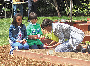 Ariana Docanto (left) from Somerville's Healey School planted wheat seats with First Lady Michelle Obama in the White House kitchen garden.