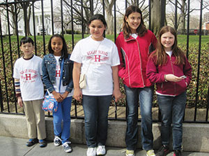 Five Healey School students travelled to the White House last week to help the First Lady with this year's garden planting (left to right): Brian Chan, Ariana Docanto, Gabriela Lopez, Lana Popovic and Sarah Sweeting. ~Photo by Susana Hernandez Morgan.