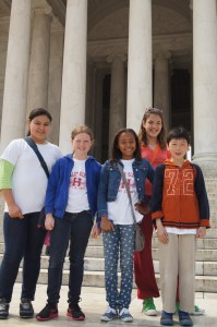 Gaby Lopez, Sarah Sweeting, Ariana Docanto, Lana Popovic and Brian Chan  visit historic sites on the National Mall on their way to the White House on May  28th.