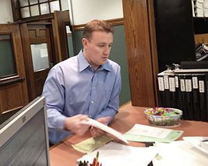 Matt Desmond pulls papers for Ward 3 Alderman on Monday morning ~Photo by William Tauro