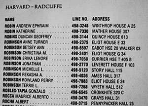 A student directory lists Michelle L. Robinson's campus address during her last year at Harvard Law School ©2013 Clennon L. King