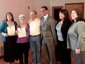 (L to R) Dee Dee Elenanzih, Flo Papagno, Tony Lafuente (Alderman Ward 4), Mayor Joseph Curtatone, Mary Ann Heuston (Alderman Ward 2), and Cindy Hickey (Executive Director of the Somerville COA). – Photo by William Tauro