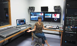Wendy Blom, Executive Director of SCATV, is pictured in the new SCATV studio.
