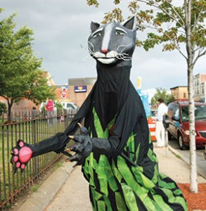 Giant puppets were recently seen in the vicinity of East Somerville Public Library, all a part of the Puppet Palooza series. ~Photo by Reda Limantas