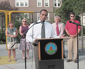 Mayor Curtatone and elected officials were present at the new park's opening ceremony.