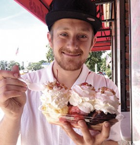 Eric Pedersen, who lives on Broadway in Somerville, loves Louie's Ice Cream Banana Boats.